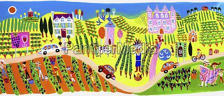 people visiting vineyards and wine tasting