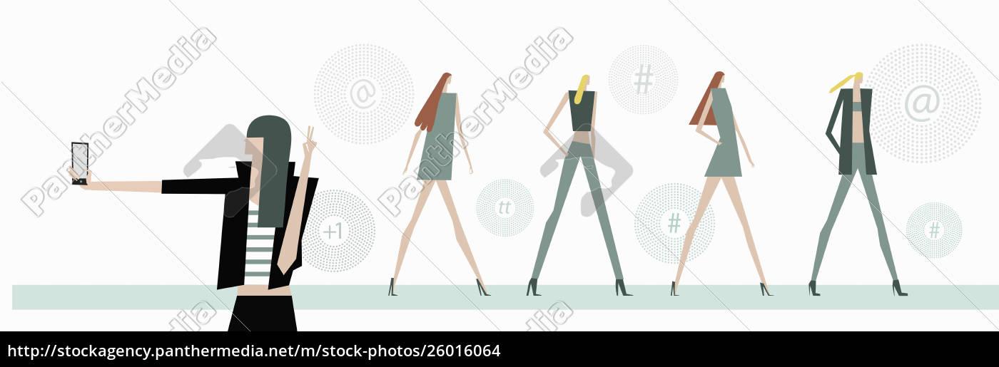 junge, trendige, frau, beim, selfie, bei - 26016064