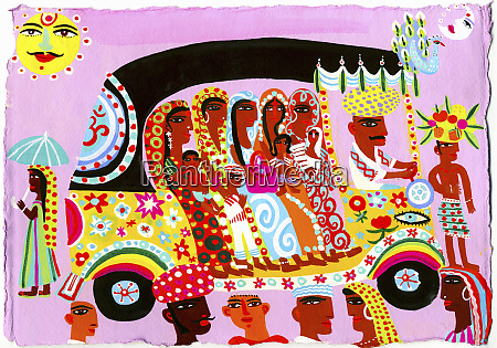 women and children traveling in ornate