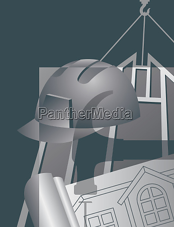 construction industry montage with architects drawing