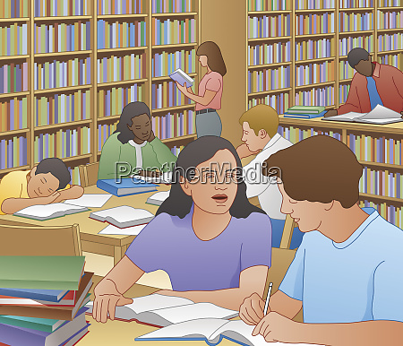 school students working in library