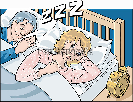 frau mit schlaflosigkeit neben schlaflosigkeit schnarchen