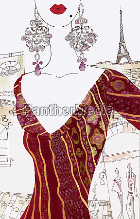 midsection of beautiful woman in paris