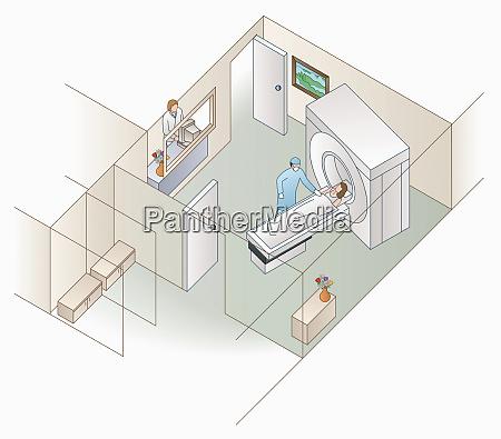 hohe winkelansicht von patienten und krankenhaus