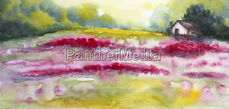 watercolour painting of scenic colourful countryside