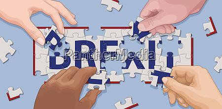 hands kooperiertum brexit puzzle zu