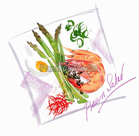 fresh prawn salad on plate