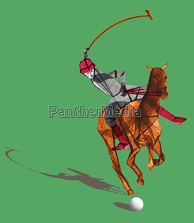 polo reiter trifft ball mit schlaeger