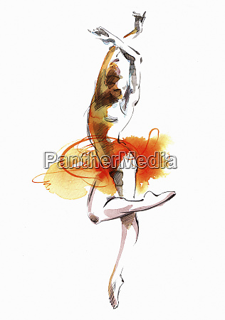 watercolour painting of a ballet dancer