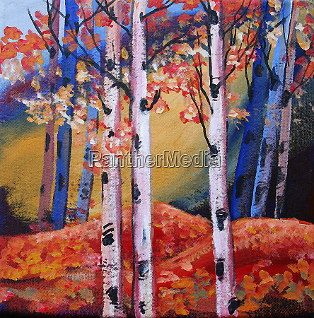 bright color autumn trees and leaves