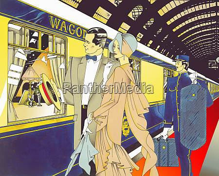 glamorous 1920s man and woman boarding