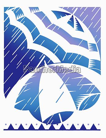 regen auf stripey regenschirmen