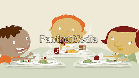 children eating food in cafeteria