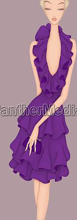 glamorous woman wearing purple ruffle dress