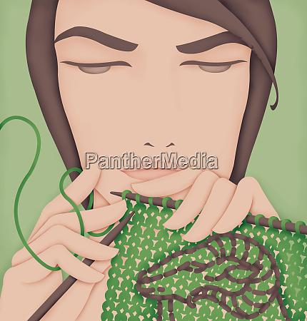 handsome man knitting ram pattern posing