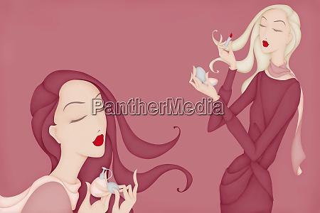 beautiful women applying lipstick and perfume