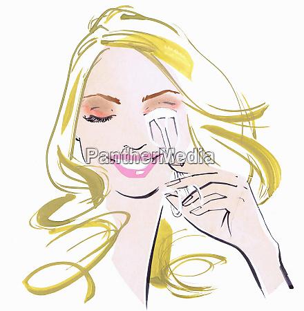 close up beautiful woman using eyelash