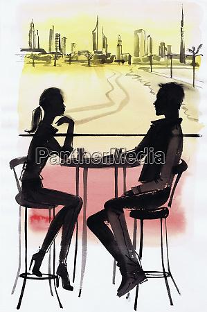 junges paar im cafe siegt gegen