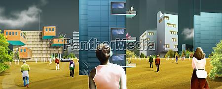 people walking toward modern high rise