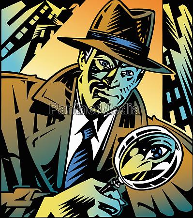 retro-detektiv, schaut, durch, lupe, in, stadt - 26018091