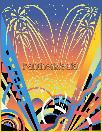 fireworks display with abstract pattern