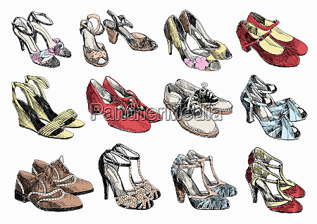 rows of pairs of womens shoes