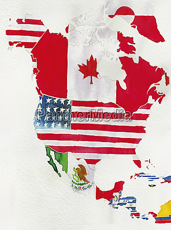 watercolor flag map of north and