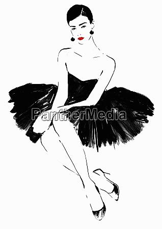 beautiful elegant woman wearing strapless black