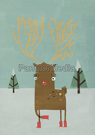 red nose reindeer with merry christmas