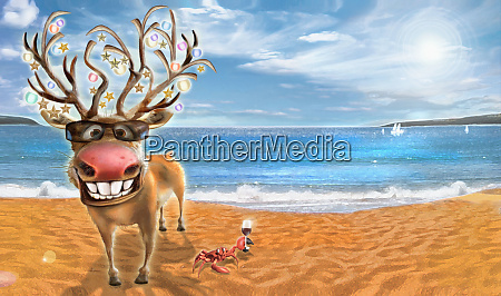 happy reindeer and crab celebrating christmas
