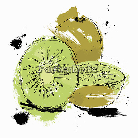 whole and cut kiwi fruit