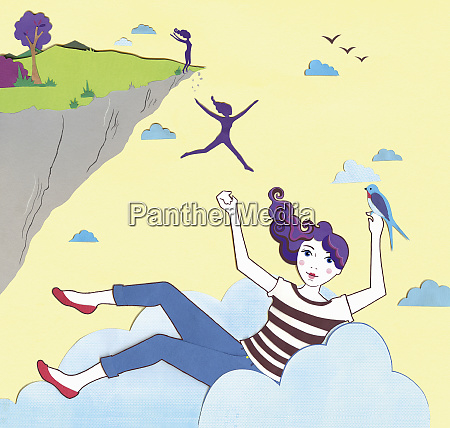 woman jumping off cliff and landing