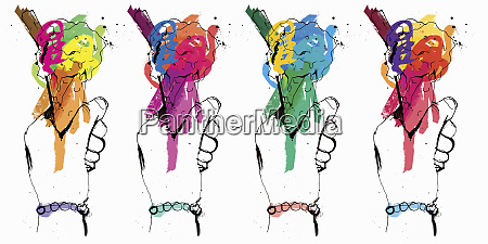 row of hands holding multicolored ice