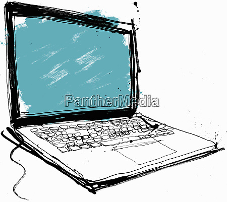 close up drawing of laptop with