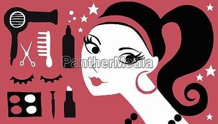 junge frau mit kosmetik und friseurprodukten