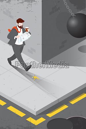 distracted businessman unaware of hazards in