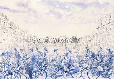 blue watercolor painting of lots of