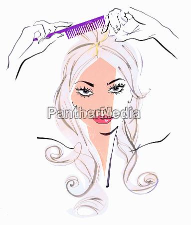 close up of beautiful woman combing