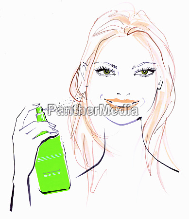 close up of beautiful woman spraying