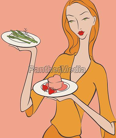 beautiful woman bringing asparagus and heart