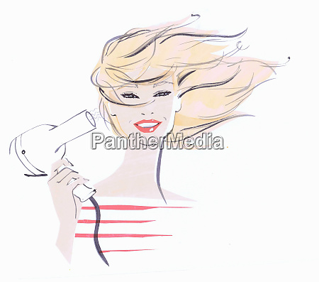 close up beautiful woman drying hair