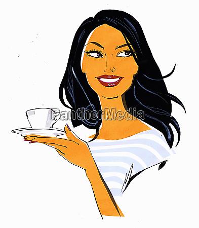 close up beautiful woman holding teacup