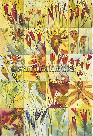 watercolor painting of plant details in