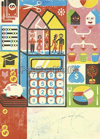 montage of blended family household finance
