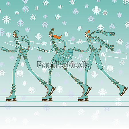 fashionable young women ice skating in