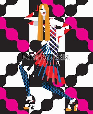 funky fashion model in geometric pattern