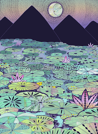 water lilies covering mountain lake