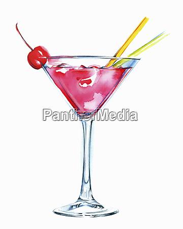 rosa cocktail im martin glas mit