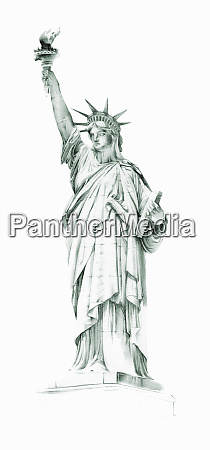 pittura dellacquerello della statua della liberta