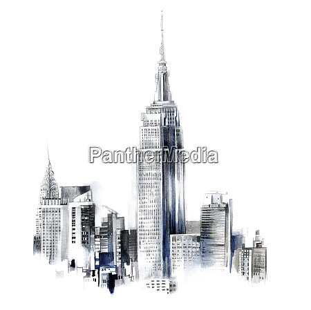 watercolor painting of the empire state